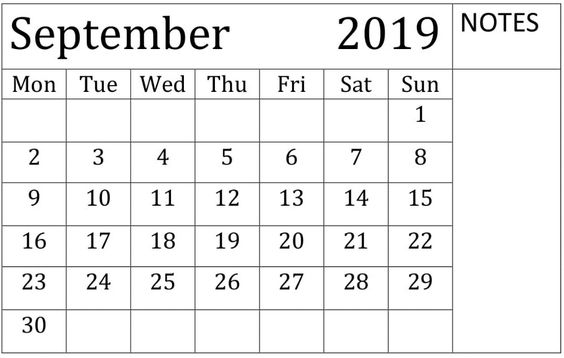September 2019 Calendar Free Download