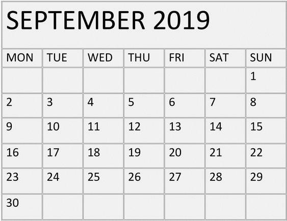 September 2019 Calendar Printable Download