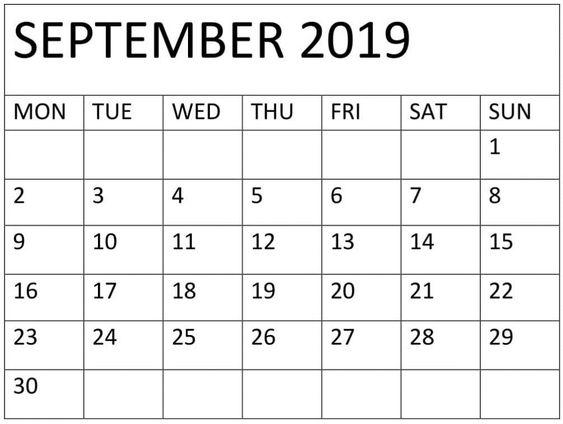 September 2019 Calendar Printable JPG Format