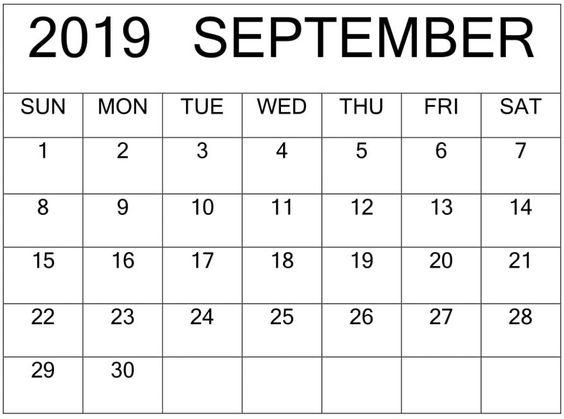 September 2019 Calendar Template Editable