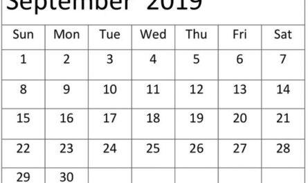 September 2019 Calendar Template PNG Format