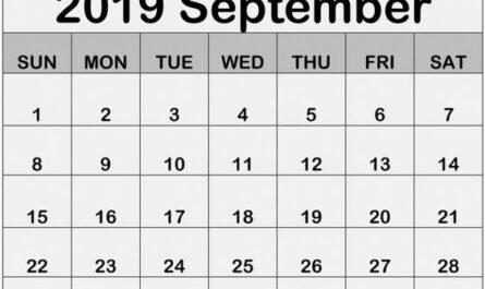 September 2019 Printable Calendar Free Print