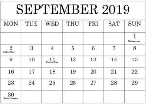 September Calendar 2019 Cute