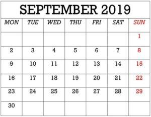 September Calendar 2019 Decorative