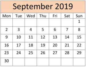 September Calendar 2019 Floral