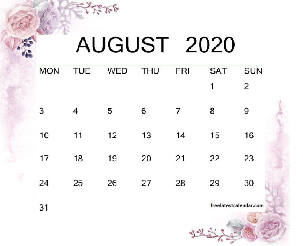 August 2020 Calendar Floral Template