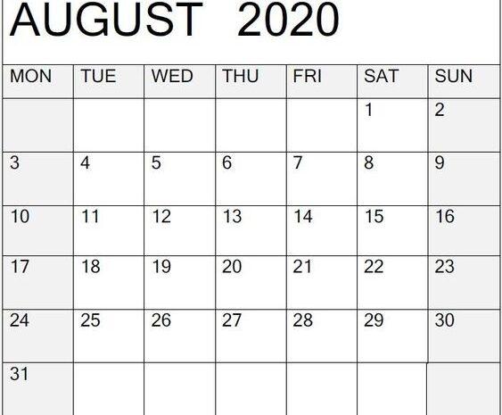 August 2020 Calendar Printable Design