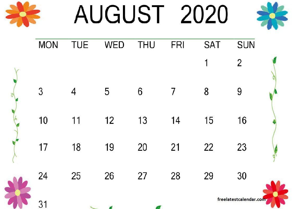 August 2020 Calendar Template Design
