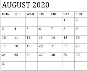 August 2020 Calendar Template Google Docs