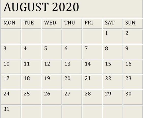 August Calendar 2020 Google Template