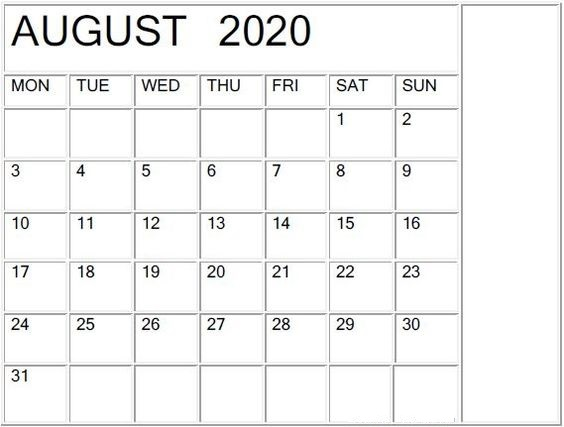 Blank August 2020 Calendar by Month Free Download