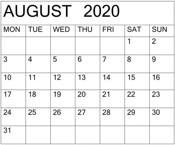 Blank August 2020 Calendar by Month Template