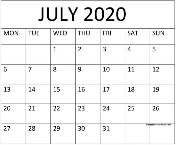 Blank July 2020 Calendar Landscape