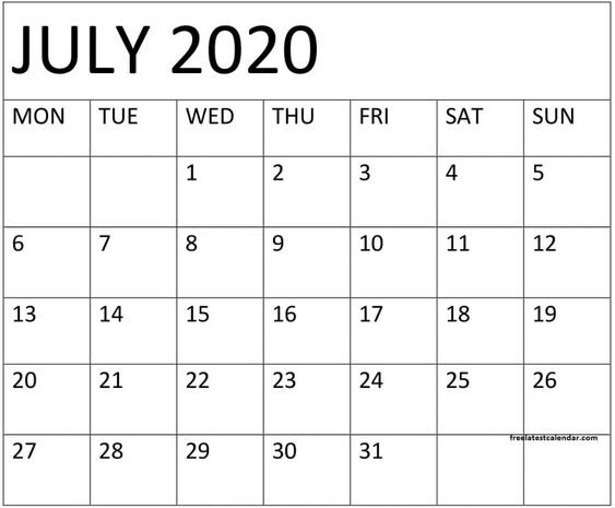 Blank July 2020 Calendar A4 Pages to Print