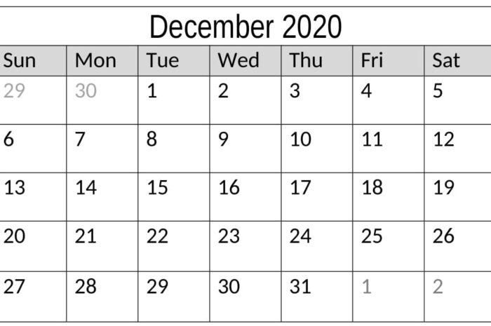 December 2020 Calendar Word Template