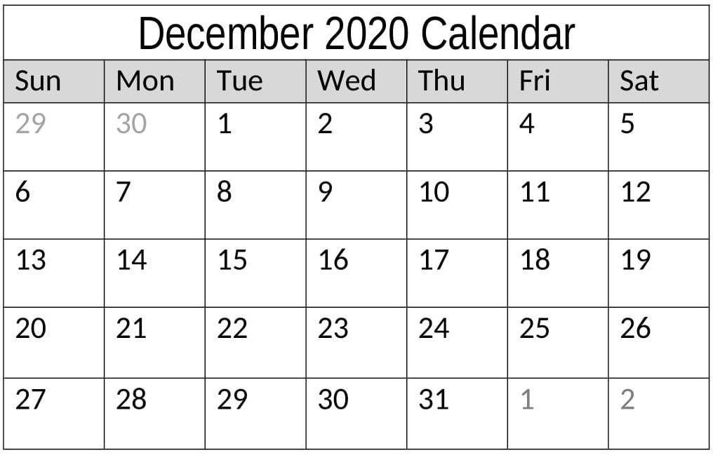 December 2020 Calendar Printable Excel