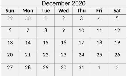 December 2020 Calendar Printable Word