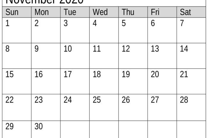 Free Printable November 2020 Calendar Monthly Planner