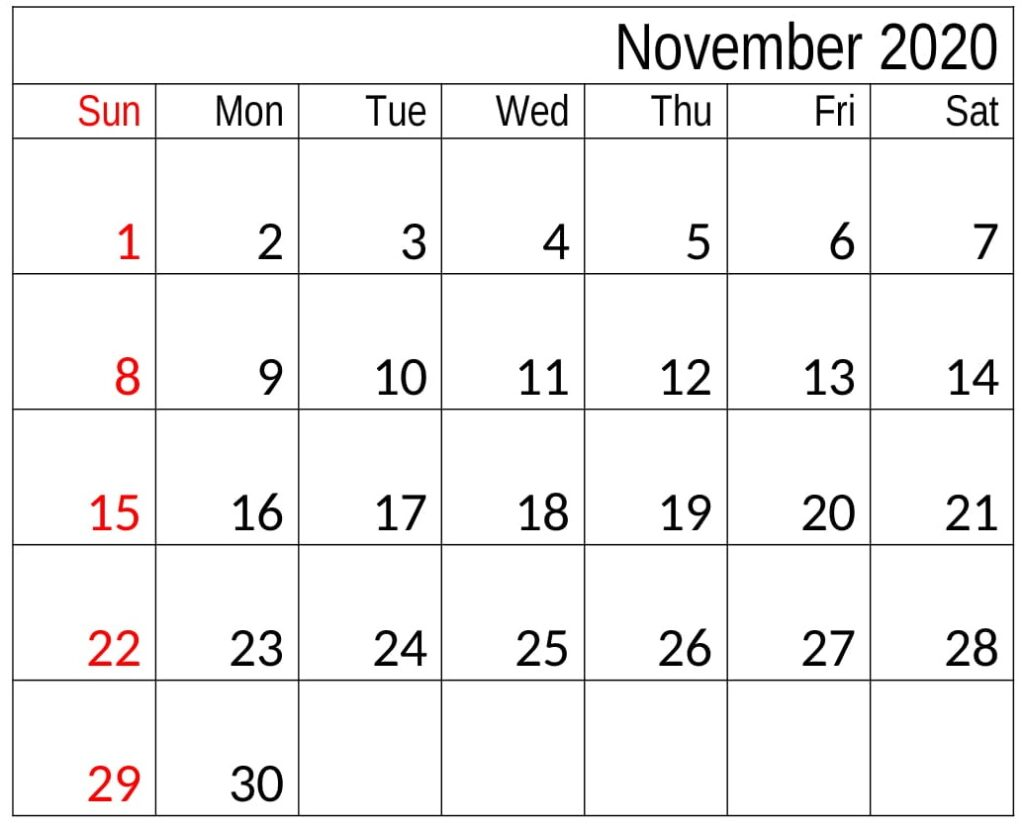 Free Printable November 2020 Calendar Blank
