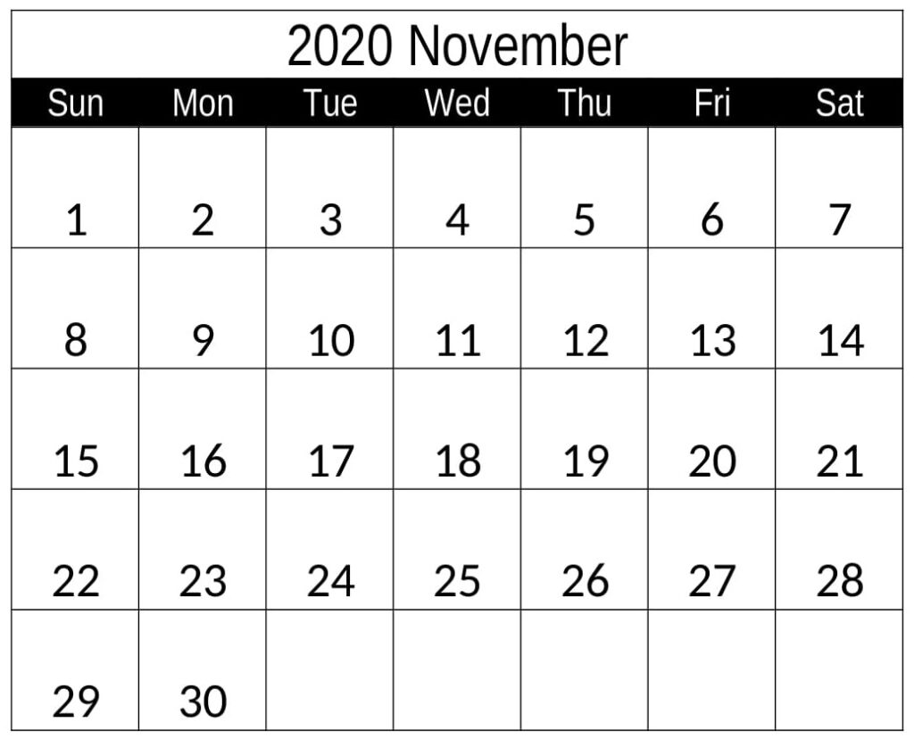 Free Printable November 2020 Calendar Holiday Notes