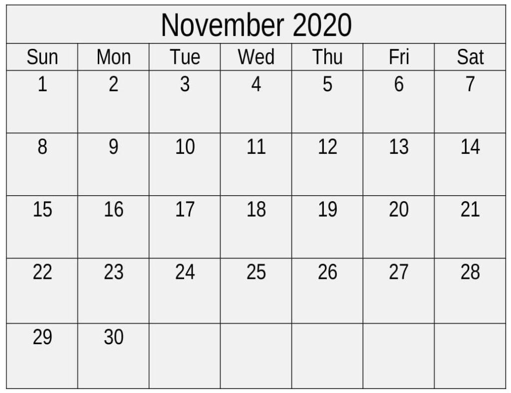 Free Printable November 2020 Calendar Template