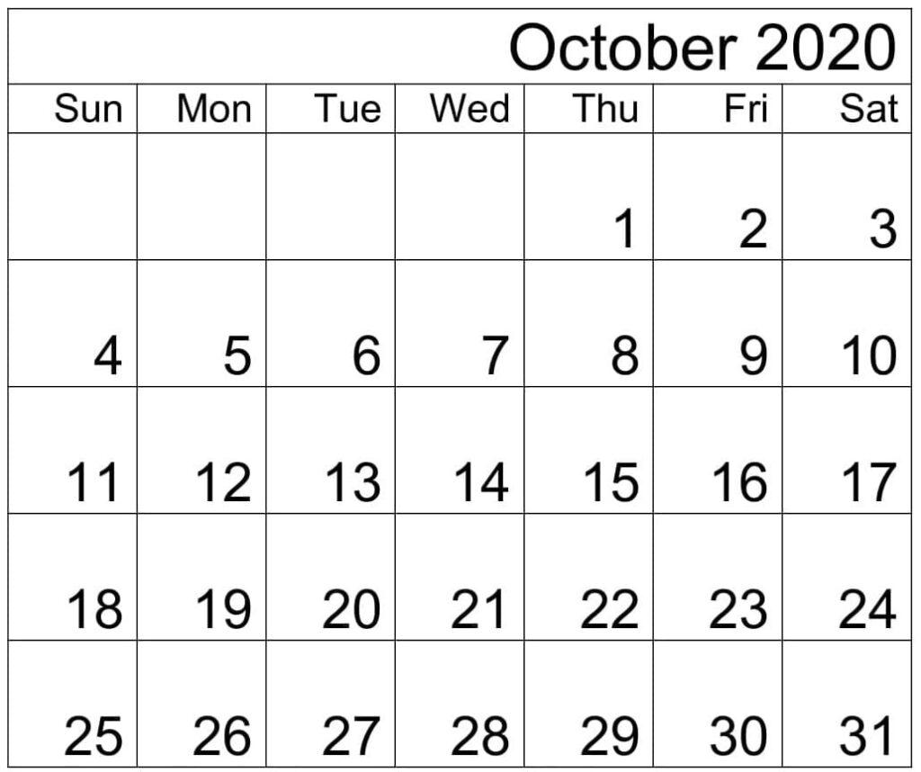 Free Printable October 2020 Calendar PDF