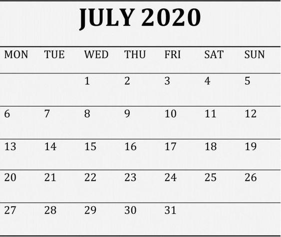 July 2020 Blank Calendar Editable