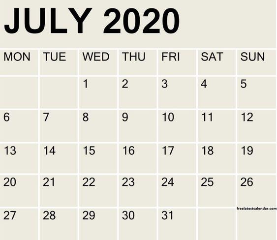 July 2020 Blank Calendar Free
