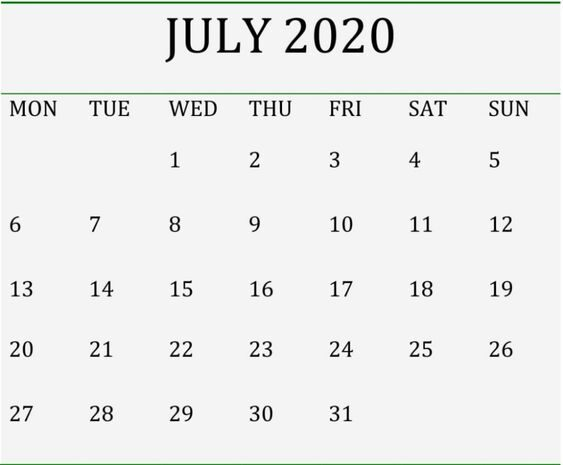 July 2020 Blank Calendar Editable Templates for Word and Excel