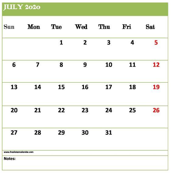 July 2020 Calendar Printable Downloadable