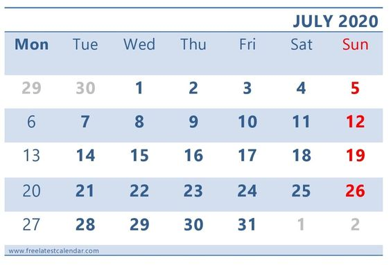 July 2020 Calendar Printable Cute and Stylish Template