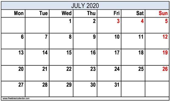 July 2020 Calendar Template Download