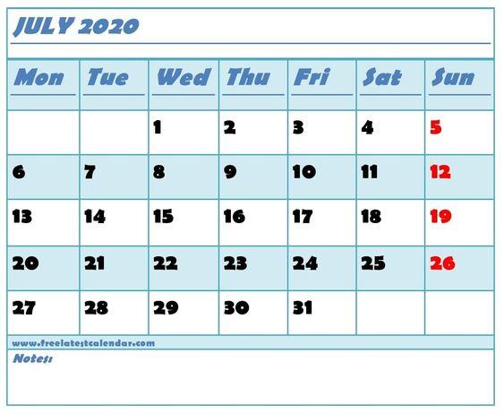 July 2020 Calendar Excel Download