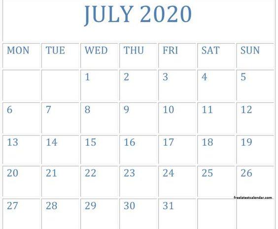 July 2020 Printable Calendar PDF Planner