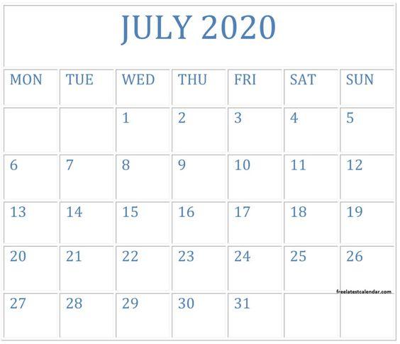 July 2020 Printable Calendar Template