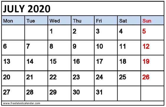 July Calendar 2020 Monthly Template