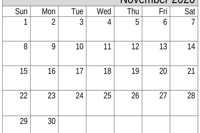 November 2020 Calendar Excel Template