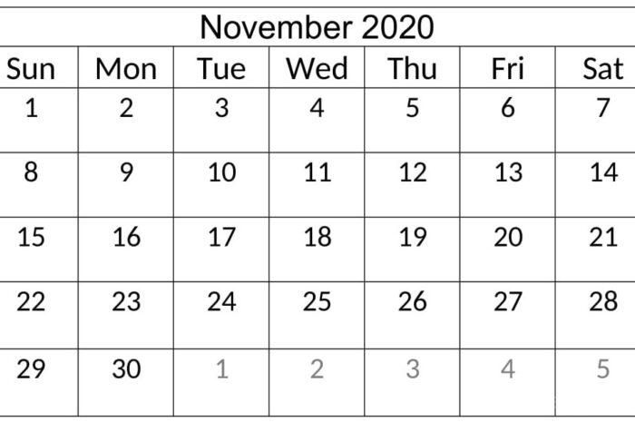 November 2020 Calendar Template Free Download