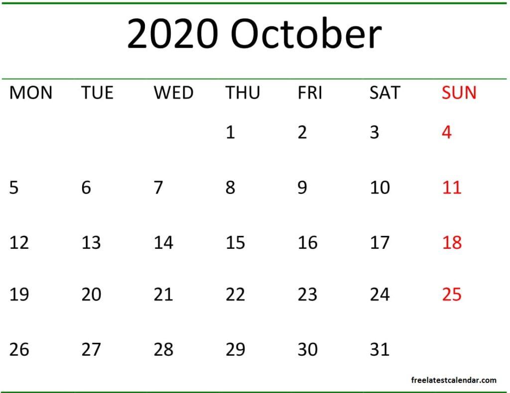 October 2020 Calendar Blank Template