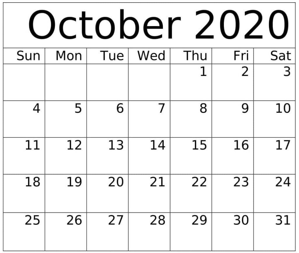October 2020 Calendar Note Blank
