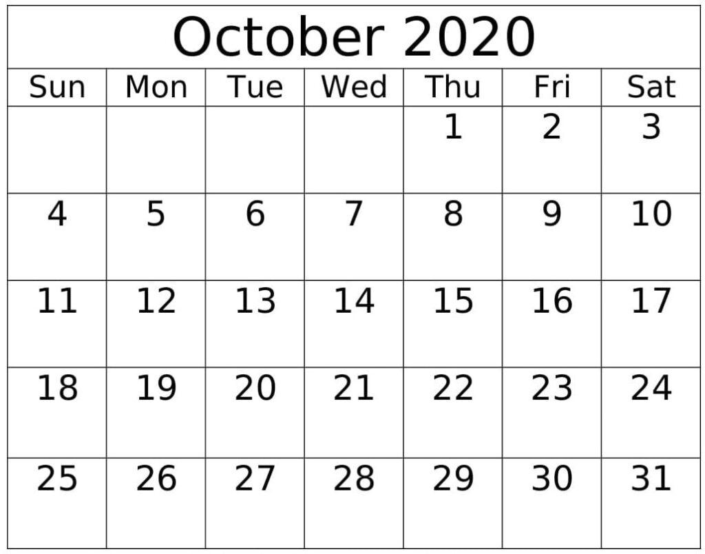 October 2020 Printable Calendar Design