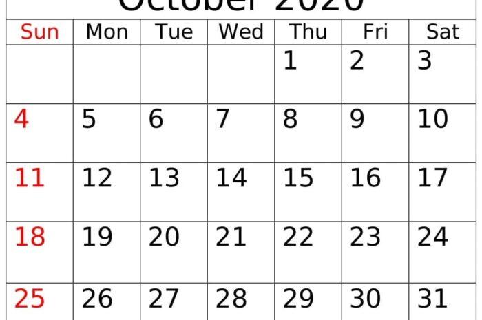 October 2020 Printable Calendar PDF Template