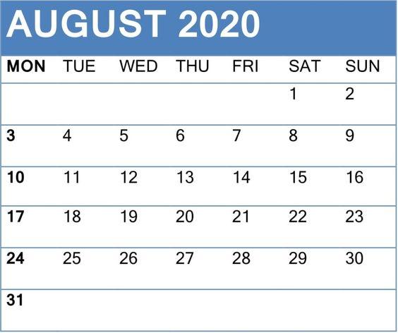 Printable August 2020 Calendar Floral