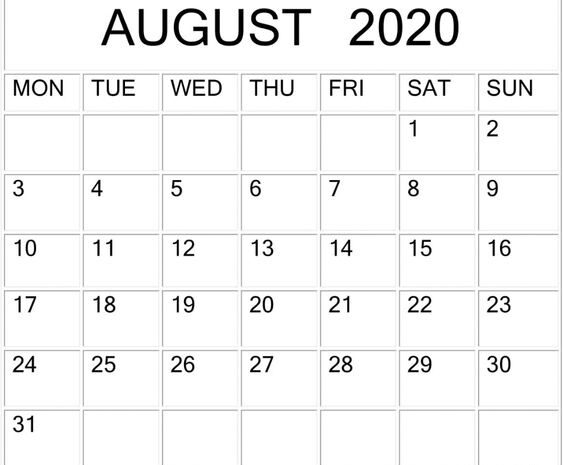 Blank August 2020 Calendar By Month
