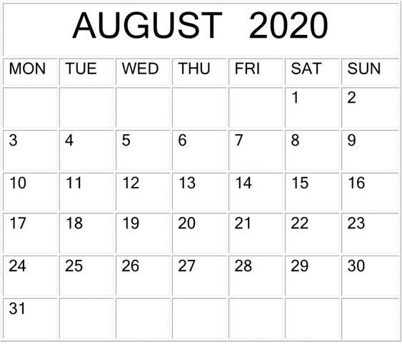 Printable Blank August 2020 Calendar by Month