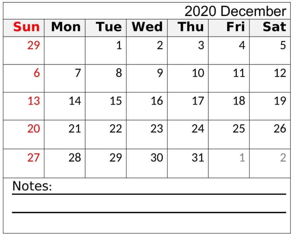 Printable December 2020 Calendar Download