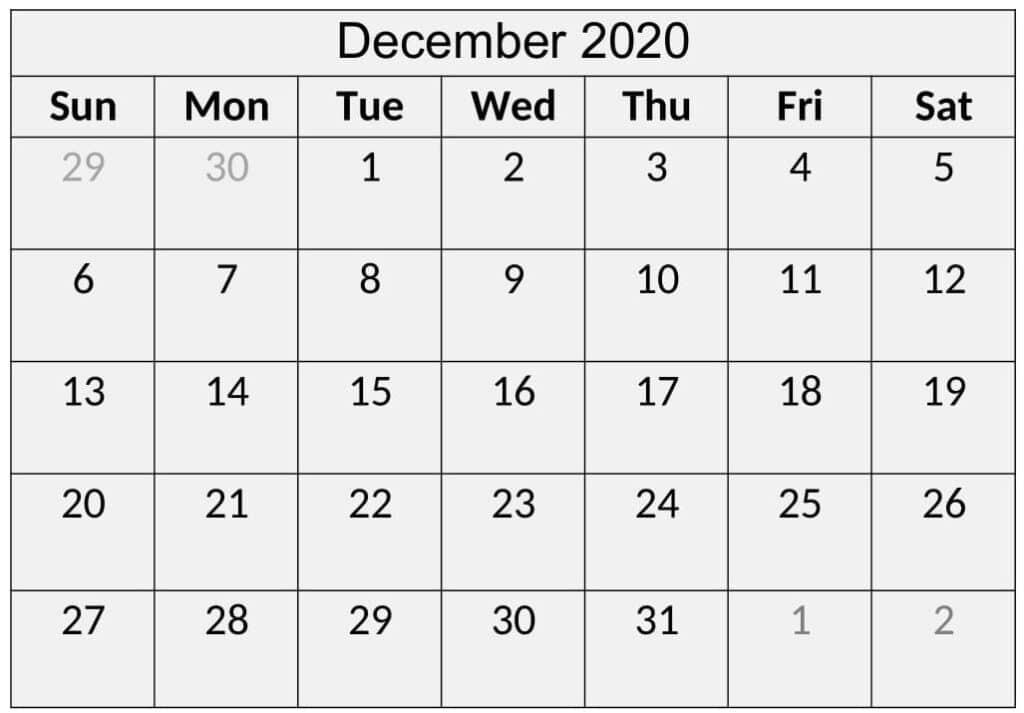 Printable December 2020 Calendar Floral