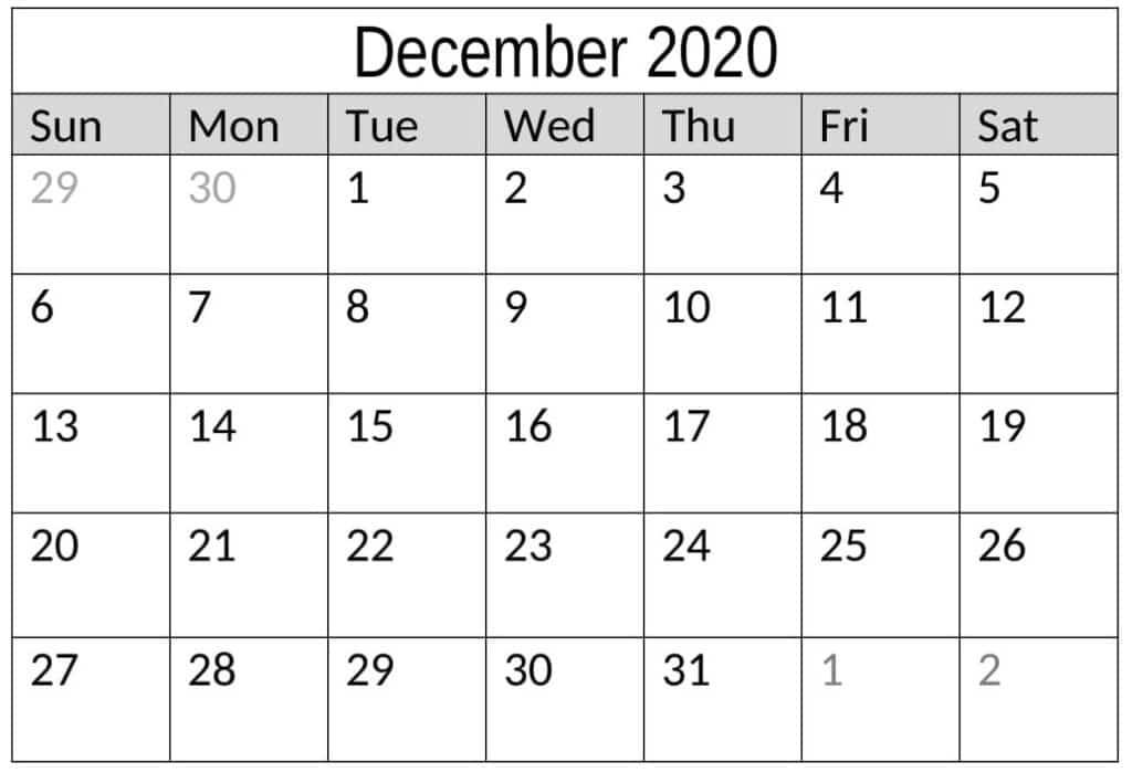 Printable December 2020 Calendar Template