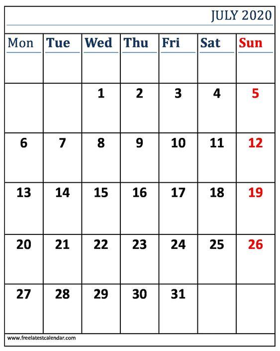 Printable July 2020 Calendar Excel