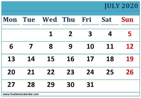 Printable July 2020 Calendar Word